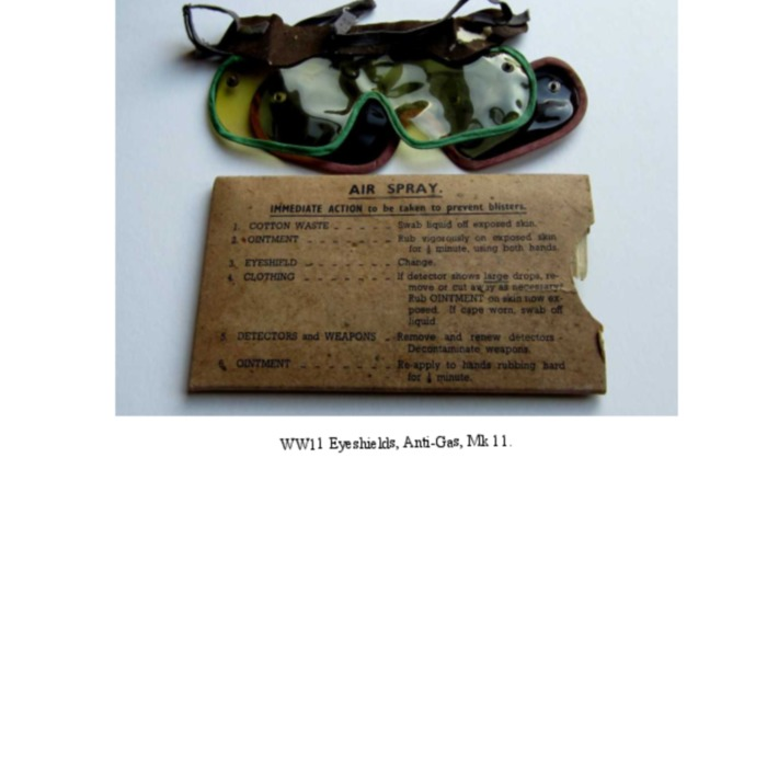Eyeshields, Anti-Gas, WW11