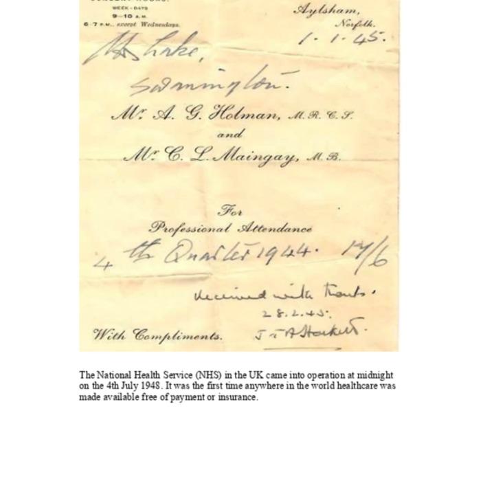 Doctors Invoice 1944/45