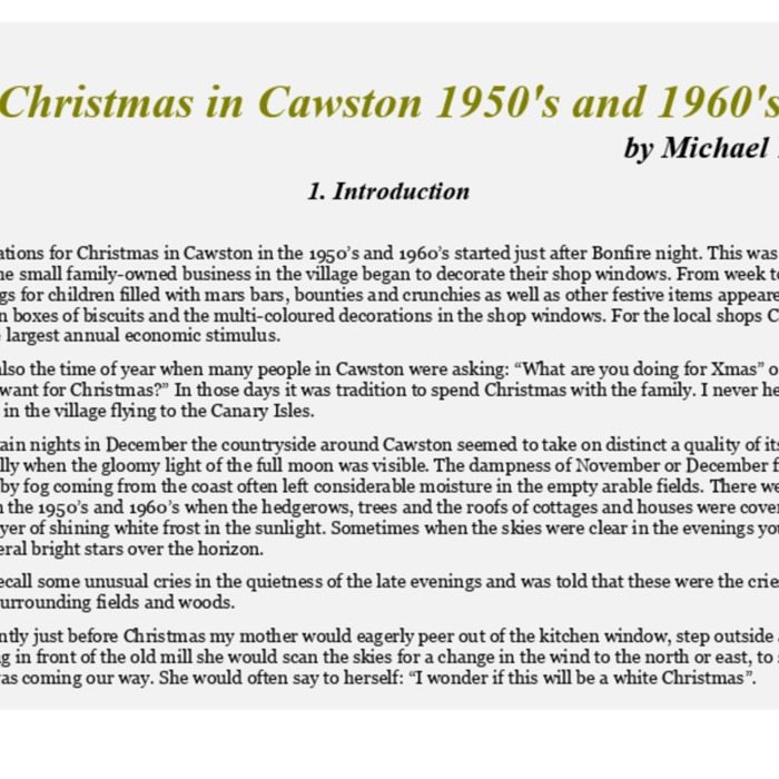 Christmas in Cawston 1950s and 1960s